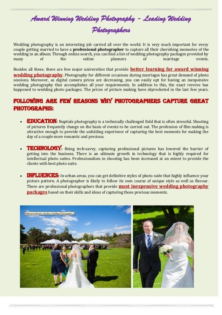 Award Winning Wedding Photography - Leading Wedding                            PhotographersWedding photography is an inte...