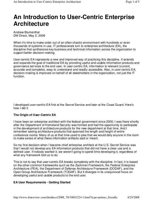An Introduction to User-Centric Enterprise Architecture                                  Page 1 of 5An Introduction to Use...