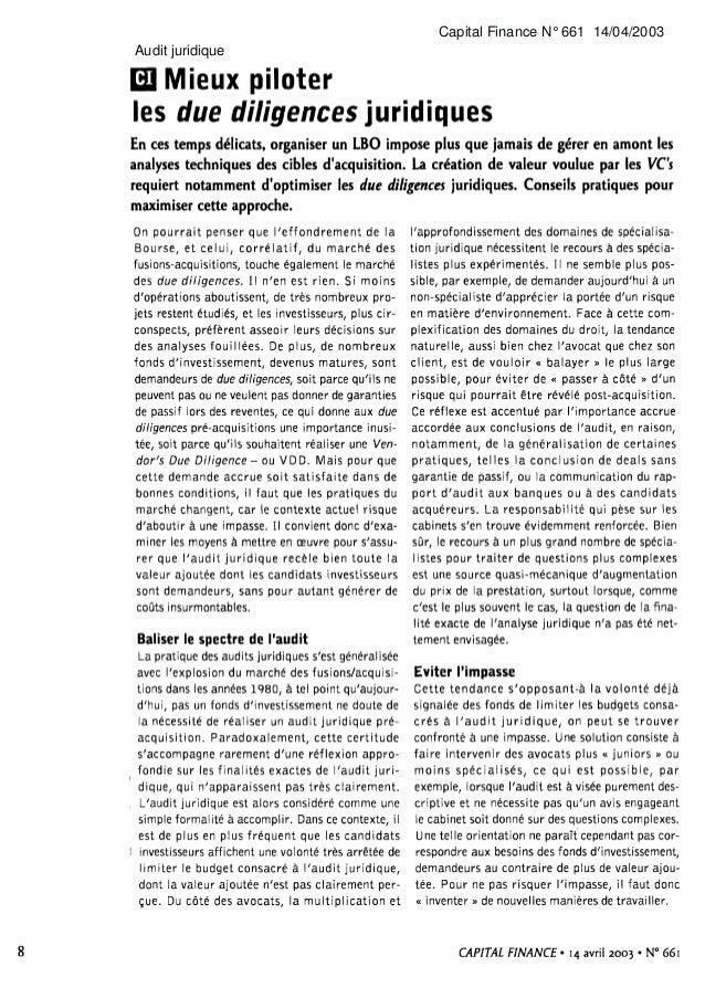 Capital Finance N° 661 14/04/2003Audit juridique