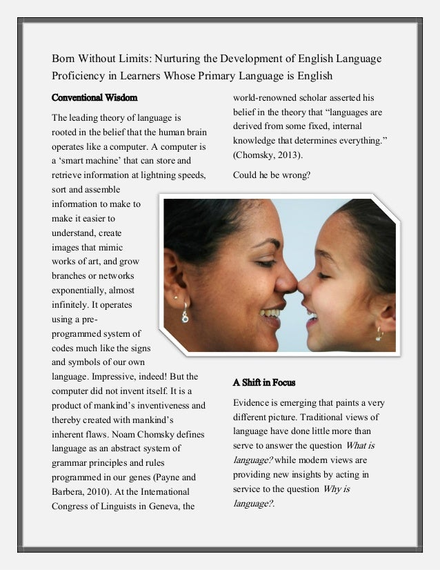 Born Without Limits: Nurturing the Development of English Language Proficiency in Learners Whose Primary Language is Engli...