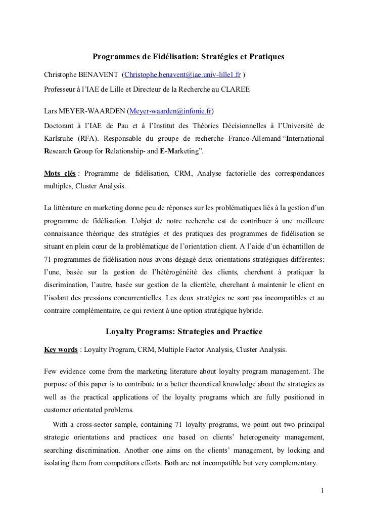 Programmes de Fidélisation: Stratégies et PratiquesChristophe BENAVENT (Christophe.benavent@iae.univ-lille1.fr )Professeur...