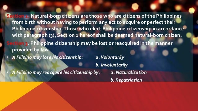 article iv citizenship Article iv citizenship section 1 the following are citizens of the philippines: those who are citizens of the philippines at the time of the adoption of this constitution.