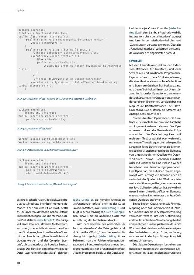 """Update  als eine Methode haben. Beispielsweise be-sitzt  10    das """"Predicate Interface"""" mehrere Me-thoden,  aber nur eine..."""