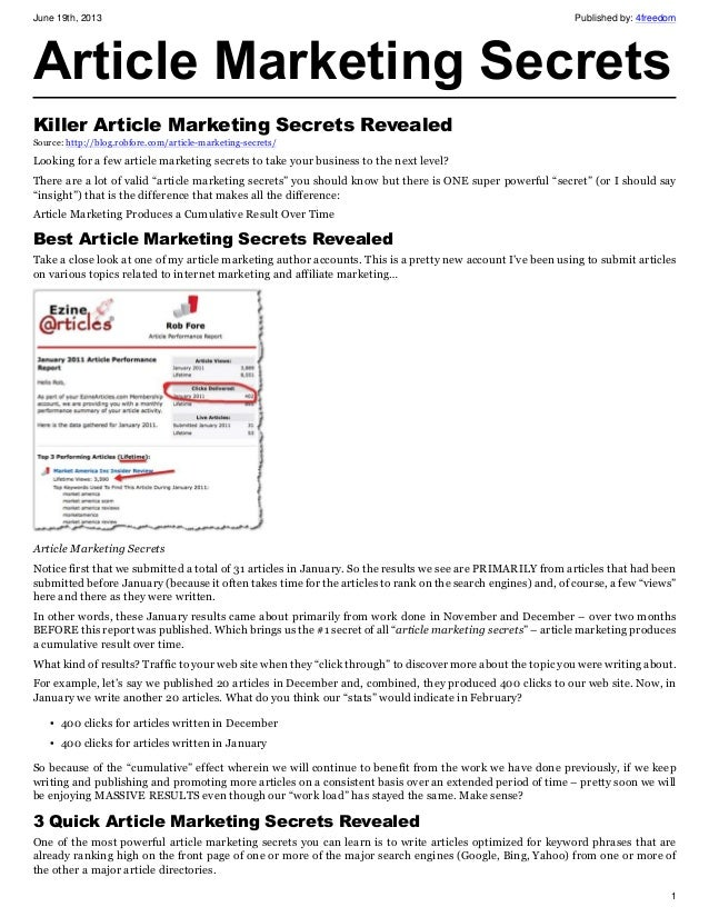 June 19th, 2013 Published by: 4freedom1Article Marketing SecretsKiller Article Marketing Secrets RevealedSource: http://bl...