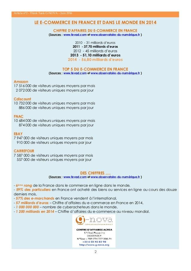 2 Article n°2 - Think Tank G-NOVA – Juin 2016 LE E-COMMERCE EN FRANCE ET DANS LE MONDE EN 2014 CHIFFRE D'AFFAIRES DU E-COM...