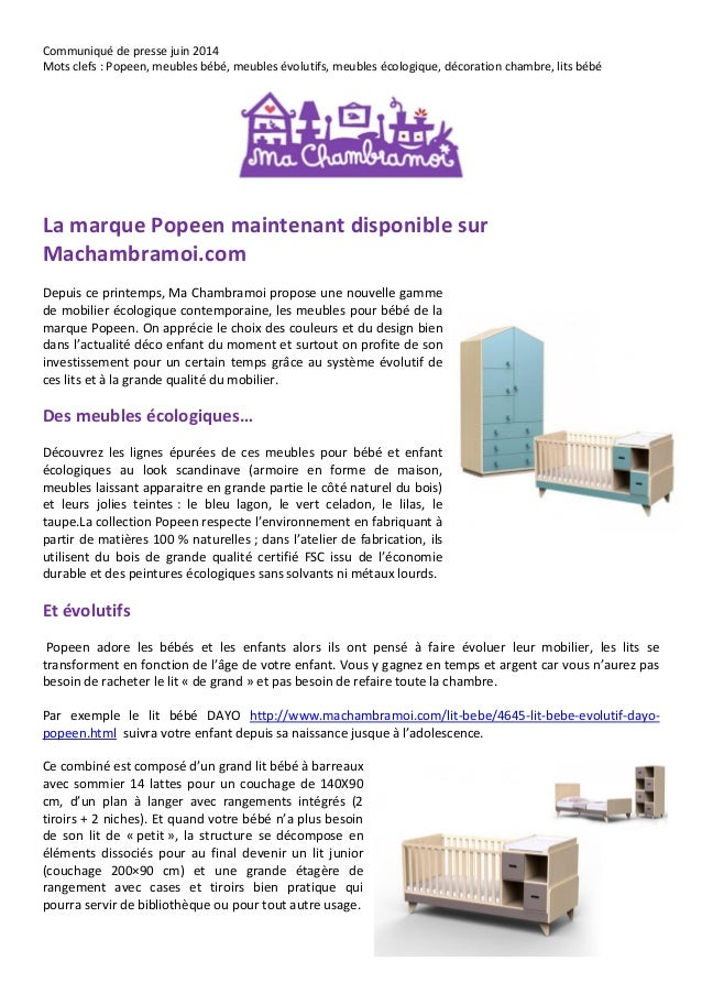 Communiqué de presse juin 2014 Mots clefs : Popeen, meubles bébé, meubles évolutifs, meubles écologique, décoration chambr...