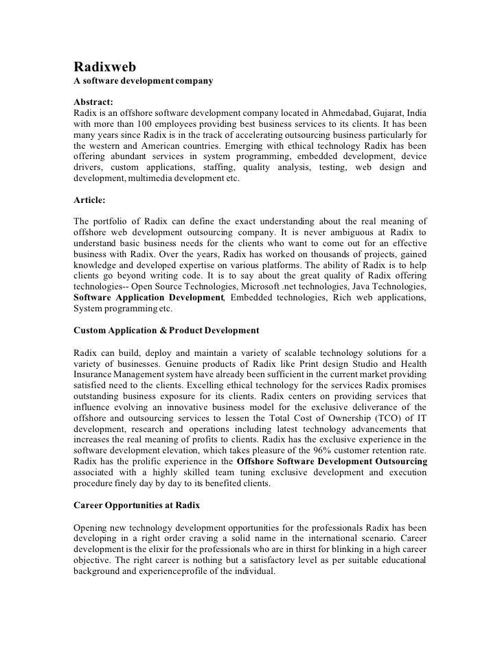 Radixweb A software development company  Abstract: Radix is an offshore software development company located in Ahmedabad,...