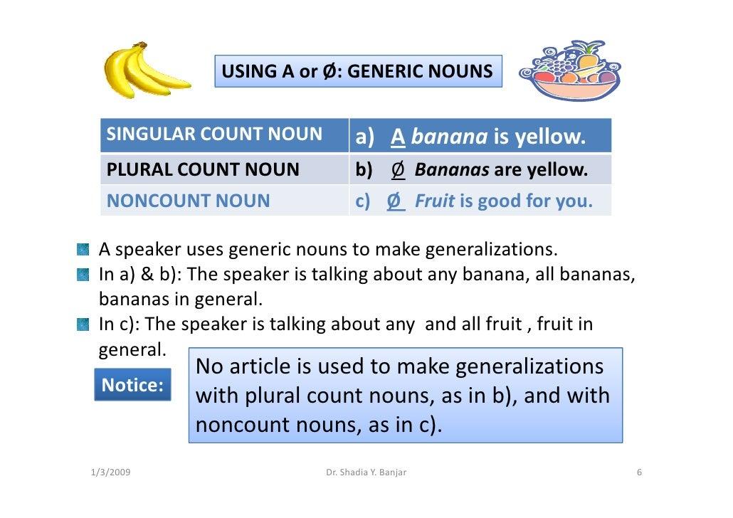 USING A or Ø: GENERIC NOUNS     SINGULAR COUNT NOUN             a) A banana is yellow.                                    ...
