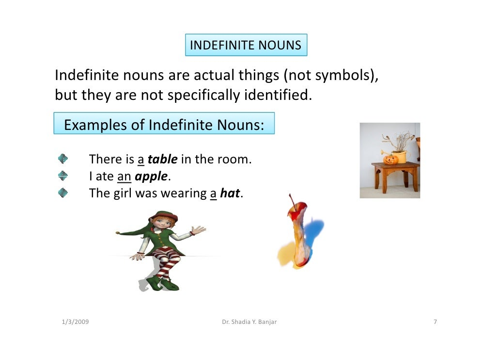 INDEFINITE NOUNS  Indefinite nouns are actual things (not symbols), but they are not specifically identified.  Examples of...