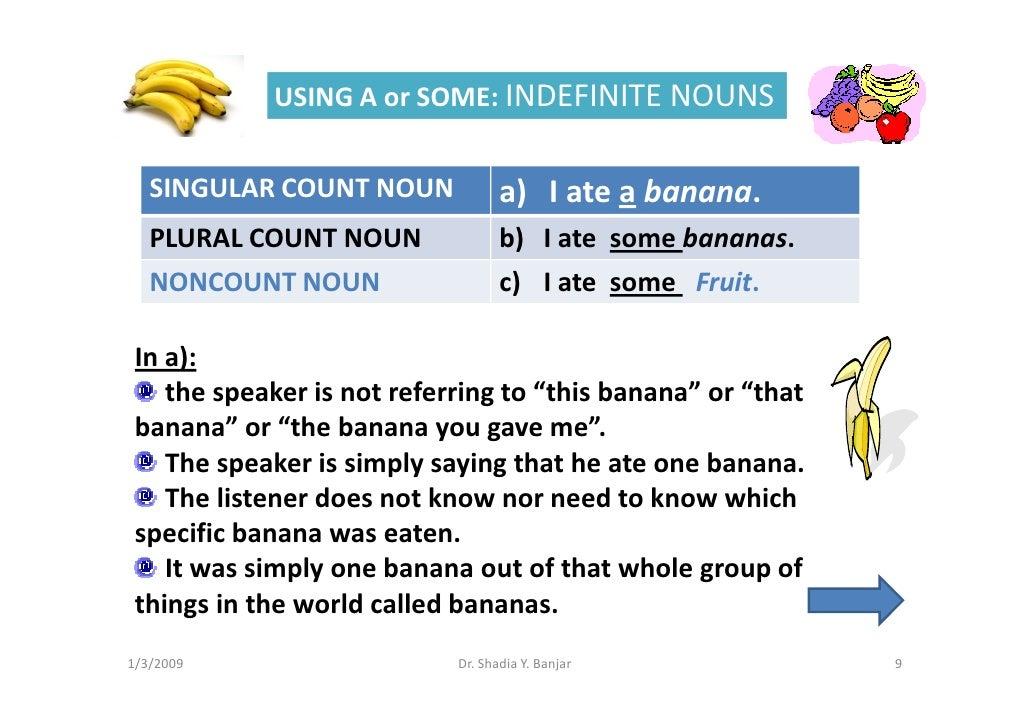 USING A or SOME: INDEFINITE NOUNS      SINGULAR COUNT NOUN             a) I ate a banana.    PLURAL COUNT NOUN            ...