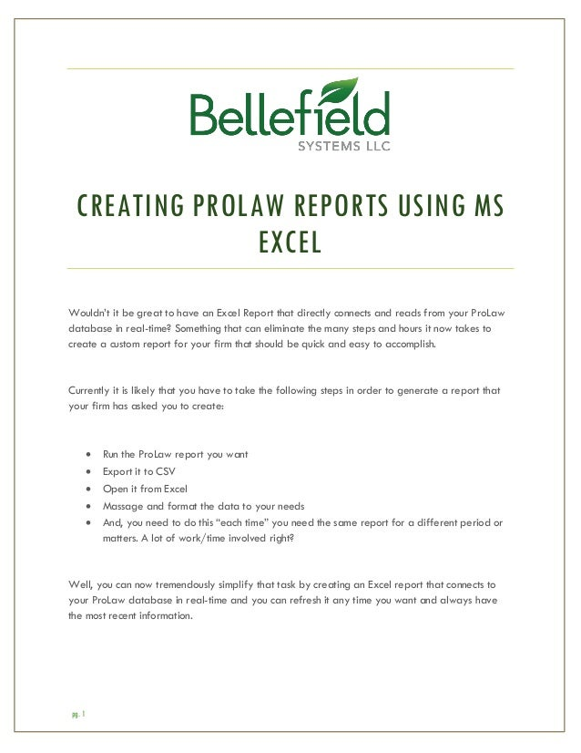 creating prolaw reports using excel