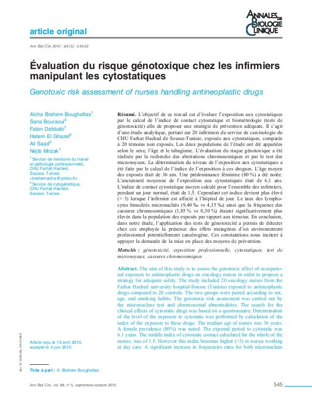 Évaluation du risque génotoxique chez les infirmiers manipulant les cytostatiques Genotoxic risk assessment of nurses hand...