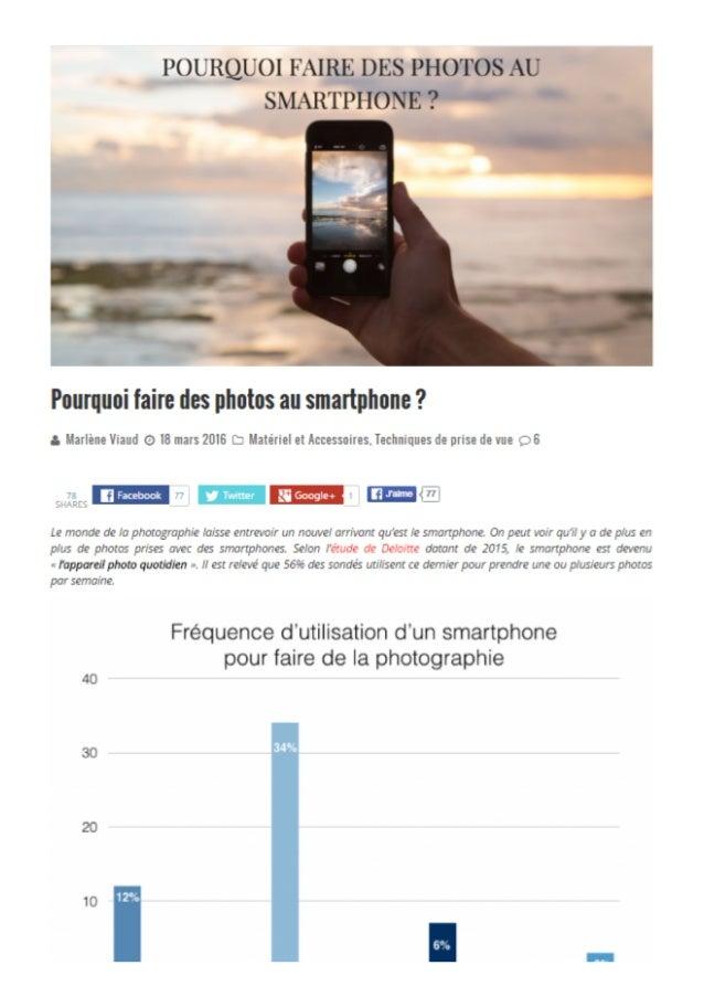 Pourquoi faire des photos au smartphone?