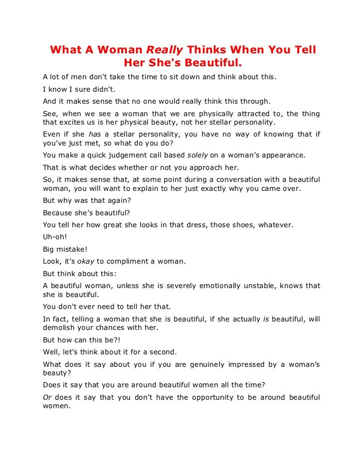 What A Woman Really Thinks When You Tell            Her Shes Beautiful.A lot of men dont take the time to sit down and thi...