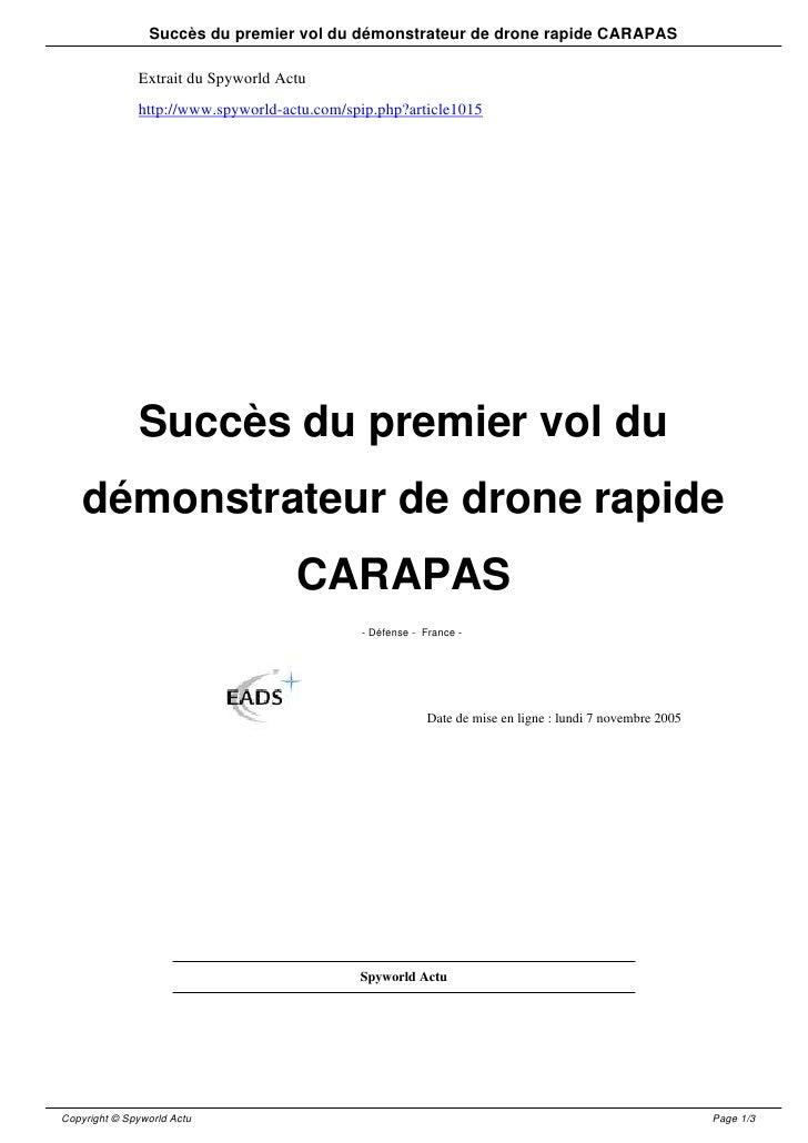 Succès du premier vol du démonstrateur de drone rapide CARAPAS                Extrait du Spyworld Actu               http:...