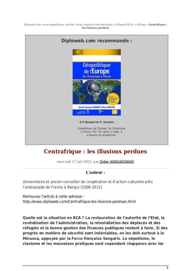 Diploweb.com, revue geopolitique, articles, cartes, relations internationales > Afrique & M.-O. > Afrique > Centrafrique :...
