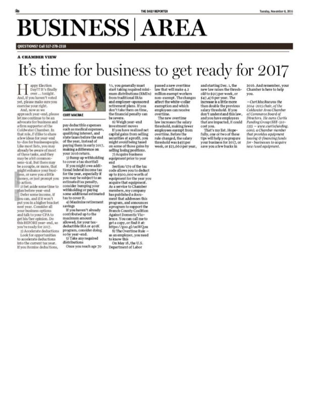 A Chamber View - Let's Get Your Business Ready for 2017