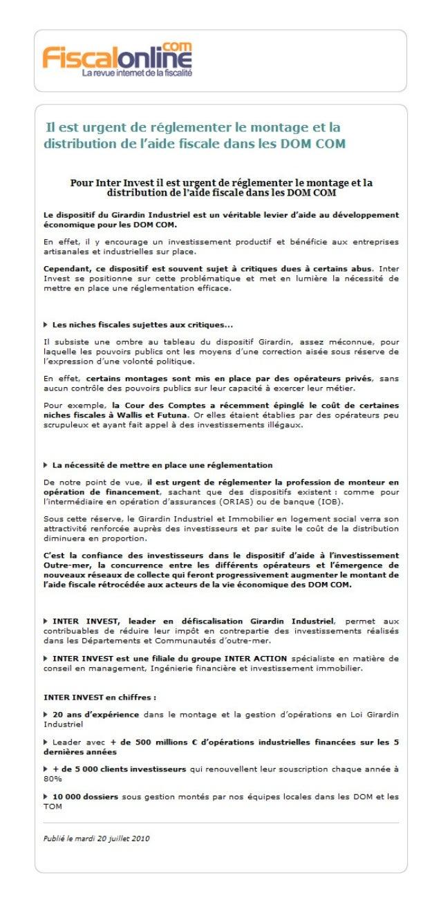 Il est urgent de réglementer le montage et la distribution de l'aide fiscale dans les DOM COM