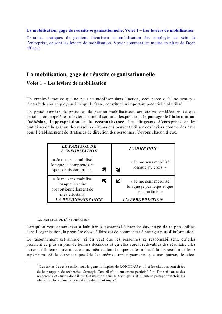 La mobilisation, gage de réussite organisationnelle, Volet 1 – Les leviers de mobilisationCertaines pratiques de gestions ...