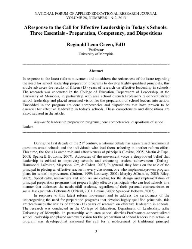 NATIONAL FORUM OF APPLIED EDUCATIONAL RESEARCH JOURNALVOLUME 26, NUMBERS 1 & 2, 20133AResponse to the Call for Effective L...