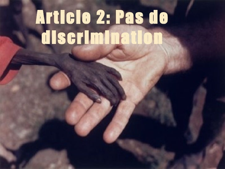 Article 2: Pas de discrimination