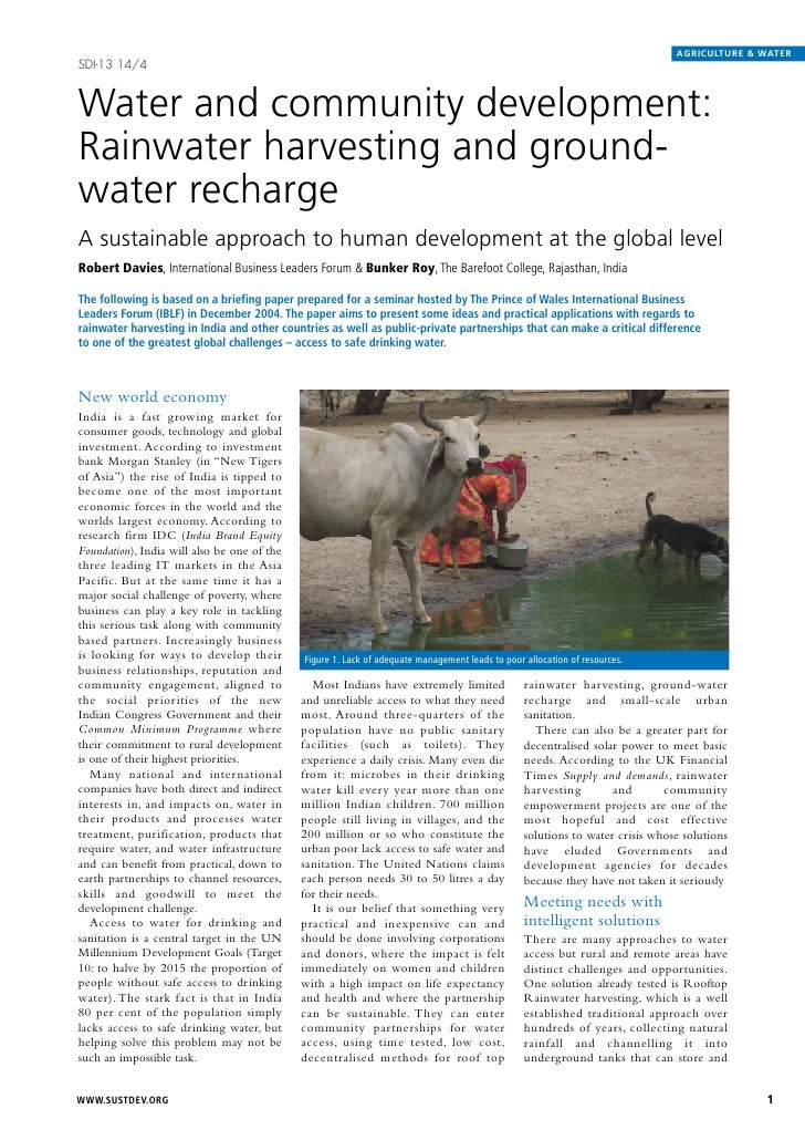 AGRICULTURE & WATERSDI-13 14/4Water and community development:Rainwater harvesting and ground-water rechargeA sustainable ...