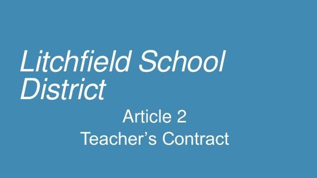 Litchfield School District Article 2 Teacher's Contract