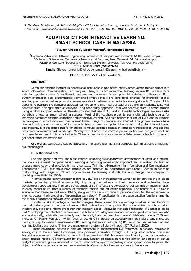 Baku, Azerbaijan| 107 INTERNATIONAL JOURNAL of ACADEMIC RESEARCH Vol. 4. No. 4. July, 2012 S. Omidinia, M. Masrom, H. Sela...