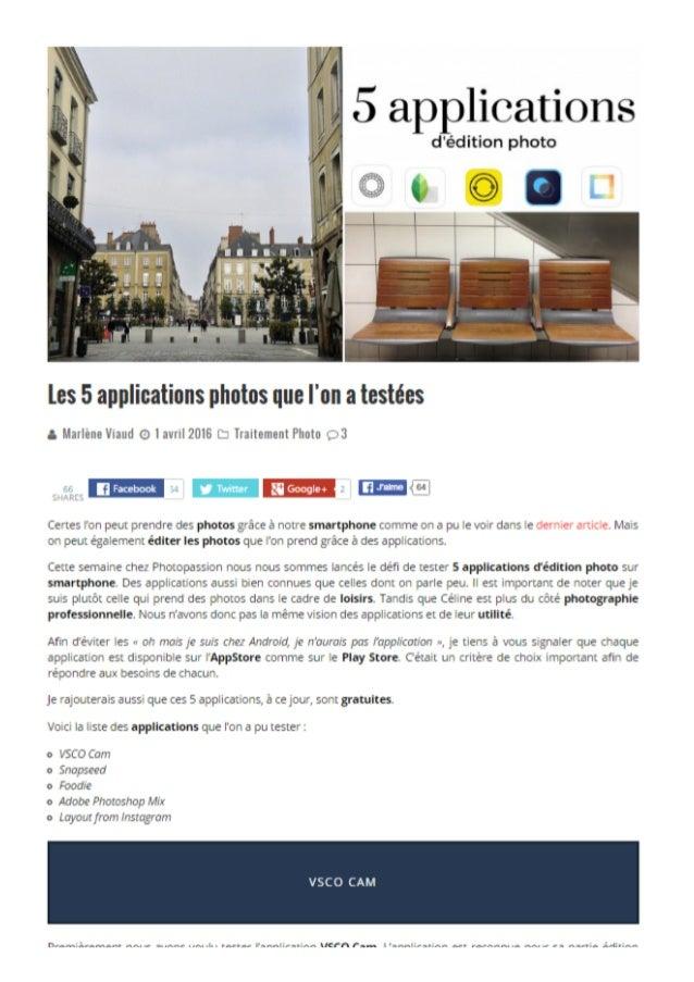 5 Applications d'édition photo