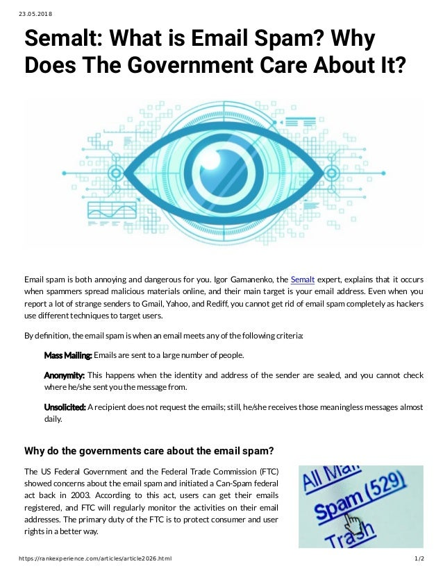 Semalt: What is Email Spam? Why Does The Government Care