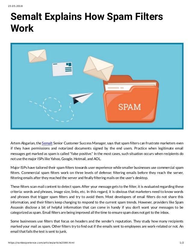 Semalt Explains How Spam Filters Work