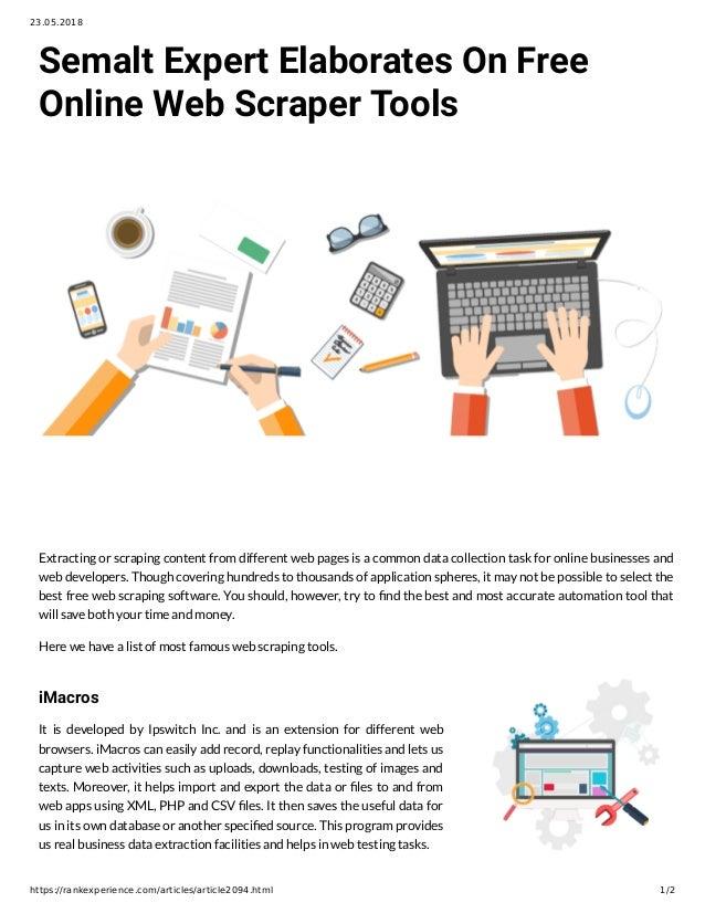 Semalt Expert Elaborates On Free Online Web Scraper Tools