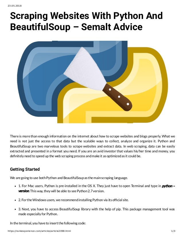 Install beautifulsoup windows pip | Peatix