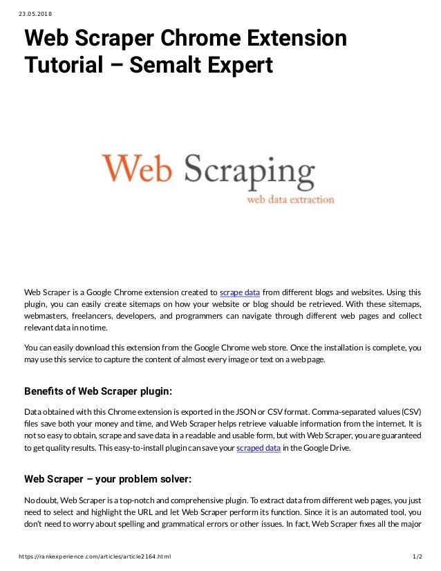Web Scraper Chrome Extension Tutorial – Semalt Expert