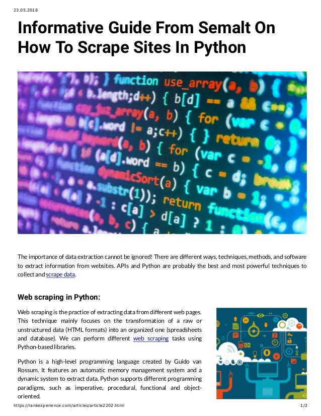 Informative Guide From Semalt On How To Scrape Sites In Python
