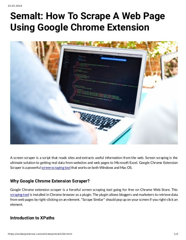 Semalt: How To Scrape A Web Page Using Google Chrome Extension