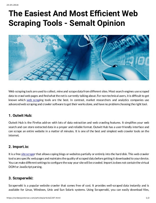 The Easiest And Most Efficient Web Scraping Tools - Semalt Opinion