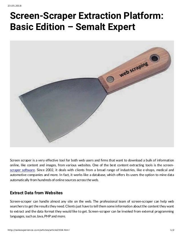 Screen-Scraper Extraction Platform: Basic Edition – Semalt