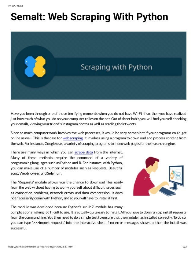 Semalt: Web Scraping With Python