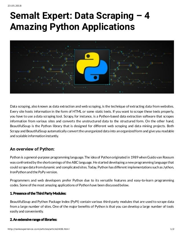 Semalt Expert: Data Scraping – 4 Amazing Python Applications