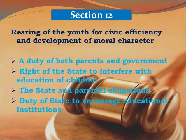 rearing of the youth for civic efficiency and development Whereas, the state recognizes the vital role of children and youth in nation   rearing them for civic consciousness and efficiency and the development of.