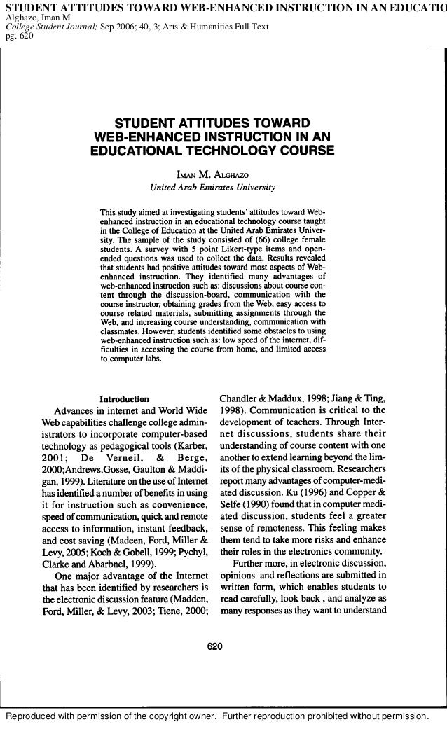 Reproduced with permission of the copyright owner. Further reproduction prohibited without permission. STUDENT ATTITUDES T...