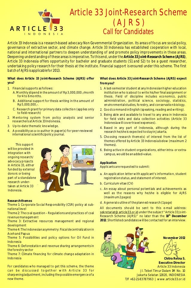 Article 33 Joint-Research Scheme                                                          (AJRS)                          ...