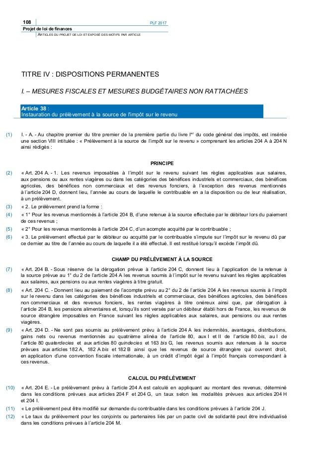 108 PLF 2017 Projet de loi de finances ARTICLES DU PROJET DE LOI ET EXPOSÉ DES MOTIFS PAR ARTICLE TITRE IV : DISPOSITIONS ...