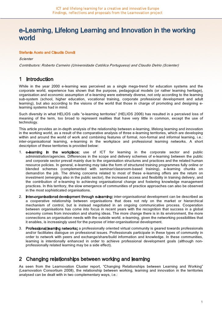 ICT and lifelong learning for a creative and innovative Europe                      Findings, reflections and proposals fr...