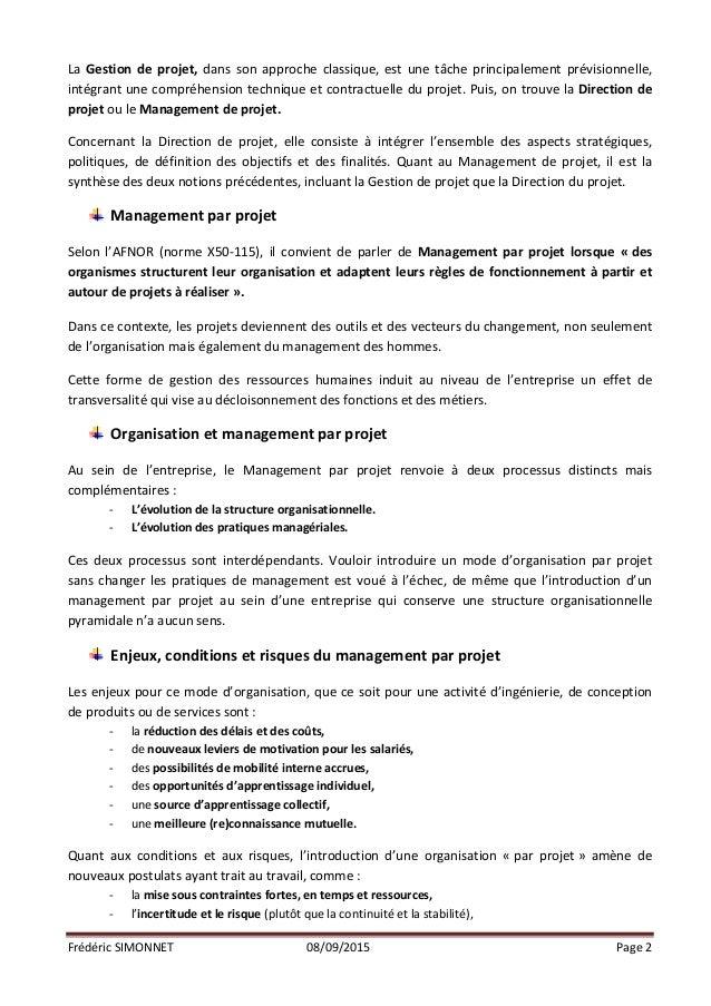 Frédéric  SIMONNET   08/09/2015   Page  2      La  Gestion  de  projet,  dans  son  approche  cl...