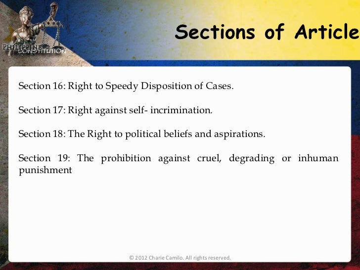 filipino bill of rights Bill of rights principles sec 1 no person shall be deprived of life, liberty, or property without due process of law, nor shall any.