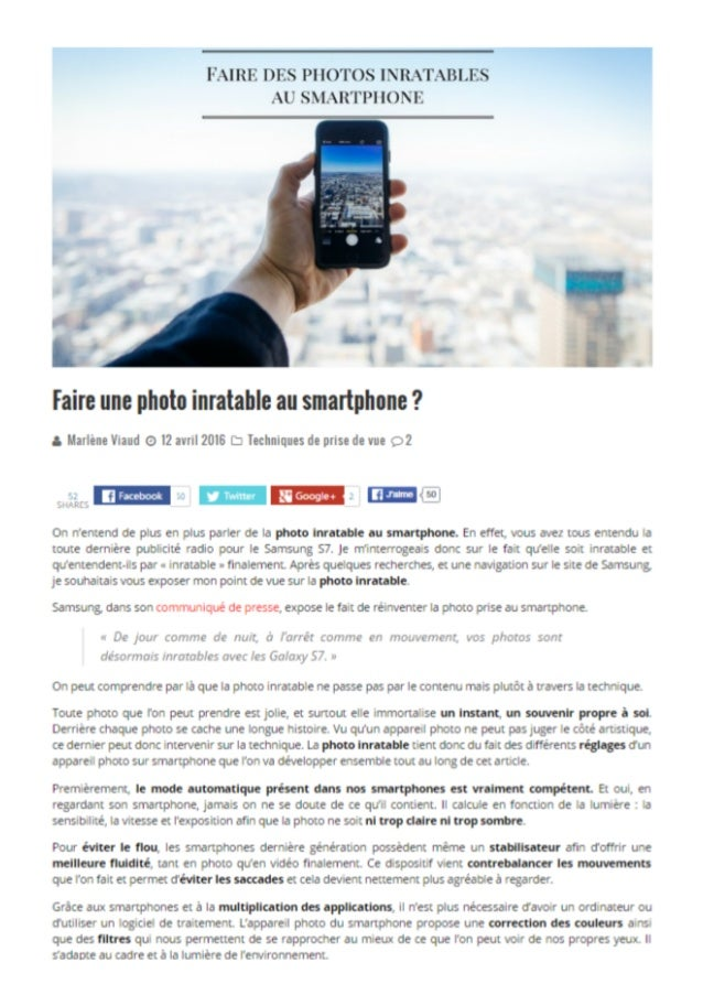 Faire une photo inratable au smartphone?