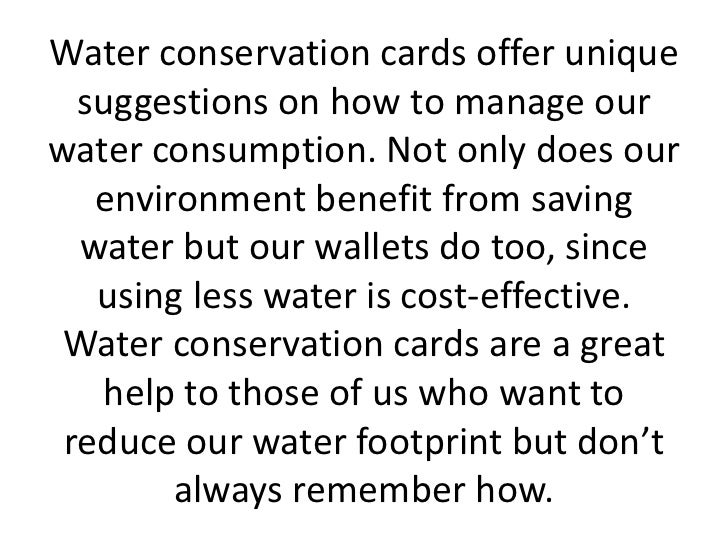 water conservation management essay The importance of water conservation 2 pages 499 words april 2015 saved essays save your essays here so you can locate them quickly.
