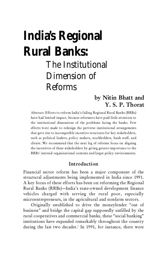 India's RegionalRural Banks:             The Institutional             Dimension of             Reforms                   ...